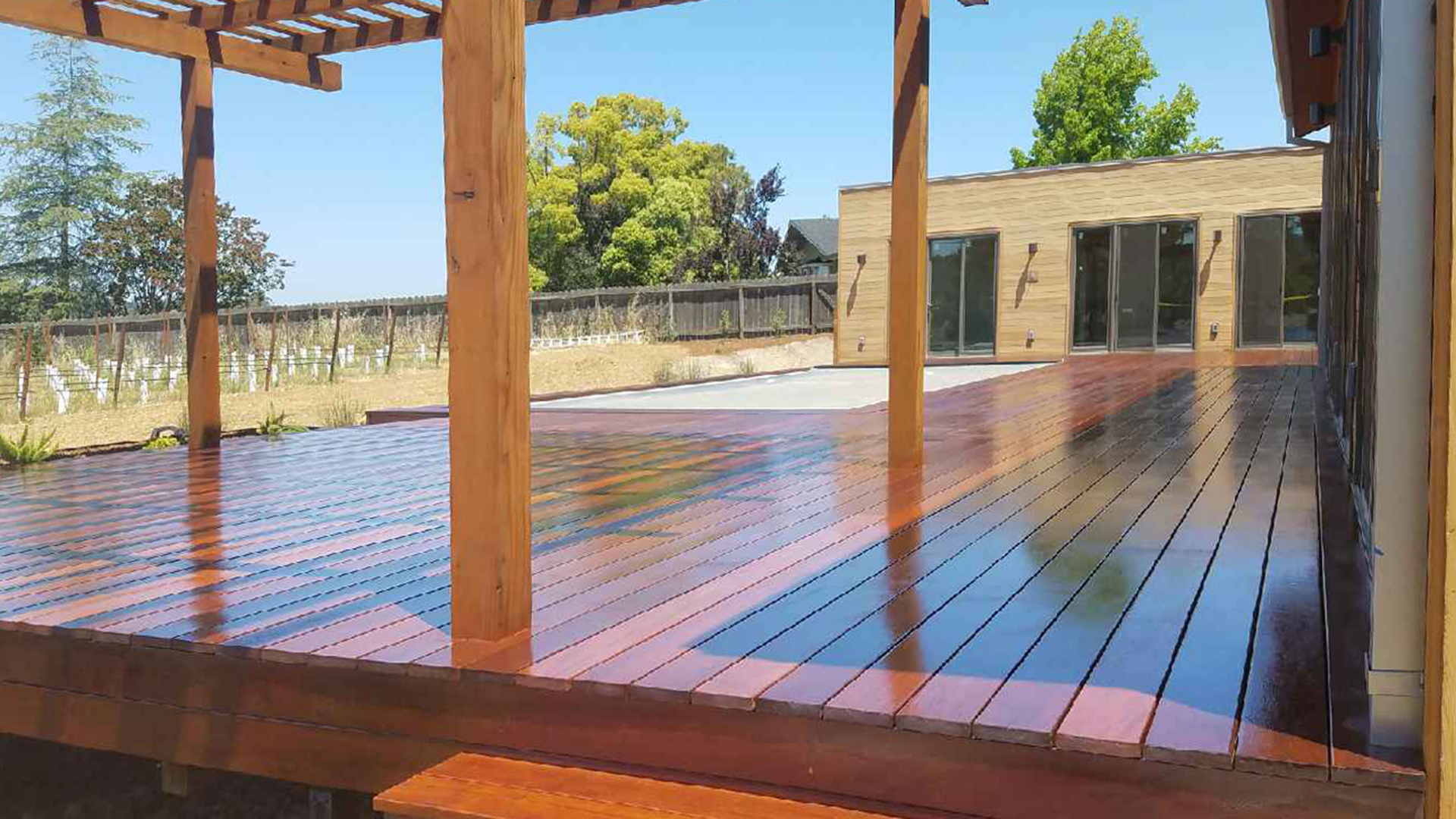 Ironwood deck with Redwood Patio Cover - Napa CA