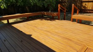 Zuri Pecan Deck With Benches In Santa Rosa Deck Master